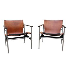 Pair of sling chairs by Charles Pollock for Knoll