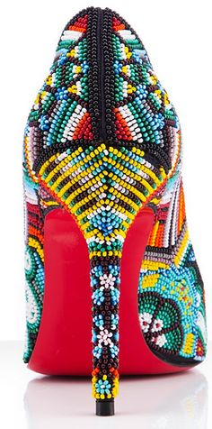 bead heel, fashion, mexican art, color, beadwork, christian louboutin shoes, seed beads, beauty, accessories