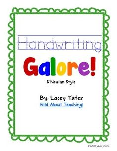 Weekly Freebie: FREE Writing Resource  Free from Wild About Teaching on TpT    Handwriting Galore-D'Nealian via All Free Teacher Resources