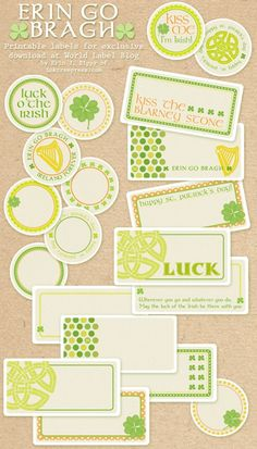 "St Patricks Day labels for free. This ERIN GO BRAGH set is designed by Erin Rippy of Inktreepress.com. Download them free @ blog.worldlabel.com ""Ireland Forever""...."