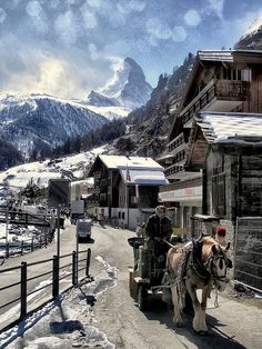 Zermatt in winter, Mount Matterhorn in the background, Swiss Alps.