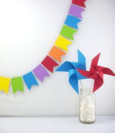 Rainbows Flags Pennant 6ft.   ///////  Rainbow Birthday Party Decor // Classroom Decor // Playroom Decor // Rainbow Garland // Kids Party //. $10.50, via Etsy.