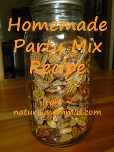 "Love ""Chex Mix"" but hate the unnatural ingredients in the bagged version?  Here is a recipe for homemade party mix that is amazing and can be made from all organic ingredients....as noted in the post - its wise to avoid using actual Chex cereal as they use BHT to ""preserve freshness"" - this is a questionable ingredient at best.  Instead you can find organic versions of most of the cereals and if in doubt (or strapped for $) use Crispix instead - corn and rice in one cereal + no BHT!"