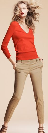 Khakis: some may feel khakis have run their course. However, jcrew, gap, banana all have different styles every year. Wait for the sale. They are a great alternative to jeans. They can be dressed up or casual. I am notorious for wearing them with a v neck and button down. That is my go to outfit when I sleep late.