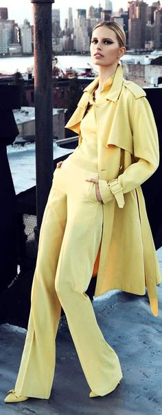 Going bananas for this banana yellow pantsuit and trench ensemble--so chic!