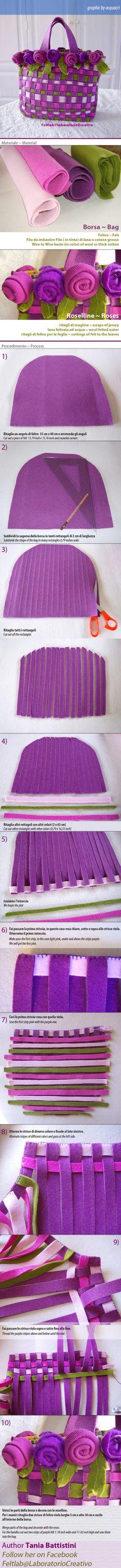 Borsa di feltro intrecciata | Felt bag woven | #felt #howtomake #DIY #bag #tutorial #faidate #creatività #artigianato