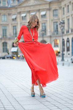 A single red dress. #fashion #street #women #style