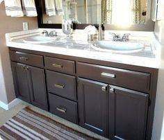 refinish cabinets grey, replace hardware