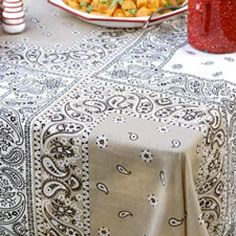 diy bandana, bandana tablecloth, craft, sewing projects, colors, sewing home decor, 4th of july, outdoor parties, blues