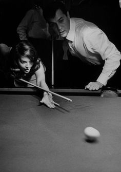 Natalie Wood learns to play billiards with Tony Curtis, 1963. Photo by Bill Ray for Life magazine.  For Billiard Room