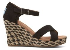 Black Mixed Rope Women's Strappy Wedges side