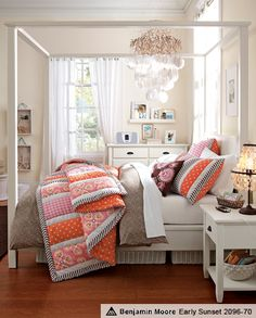 Great colour combination!   •wall colour  •little boxes hanging from ribbon •primarily blue accent on wall beds, pbteen, bedroom design, girl bedrooms, bed frame, pb teen, pottery barn, teen room, girl rooms