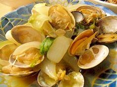 """""""Asari and sake-steamed new onion """" - japanese recipe/あさりと新玉ねぎの酒蒸し"""