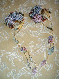 Antique Silk Ribbonwork Ribbon flowers