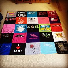 T-shirt quilts are a great idea when you graduate or start running out of room in your dresser!