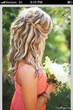 blonde haircolor, highlighted hair, hair colors, bridesmaid hair, wavy hair, summer hair, hair color ideas, waterfall braids, summer colors