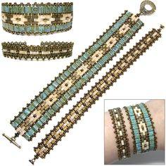 Mosaic Bands, new pattern for sale, uses Miyuki's new Half Tila beads, by Deb Roberti
