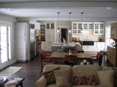 I want everything about this kitchen/family room. 3 rooms converted to 1 large living space