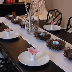 Great birds nests along table runner