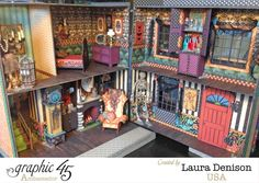 Click to see the rest of this amazing VooDoo dollhouse by Laura Denison #graphic45