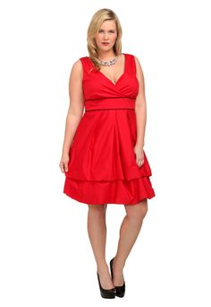Plus Size Red And Black Pop Pickup Dress image