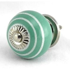 Teal White Stripe Onion Ceramic Cabinet Door Knob Set/4pc K114 Kitchen Drawer Pulls and Handles. Hand Glazed Ceramic Knobs and Pulls with Polished Nickel Hardware for Dresser, Drawers, Cabinets or Vanity