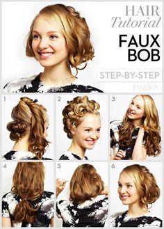 faux bob hair tutorial step by step
