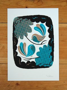 I like Birds   A4 Screenprint by peskimo on Etsy, £25.00