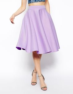Image 4 of ASOS Full Midi Skirt In Scuba With Pockets