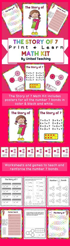 The Story of 7 Math Kit >> Teach number 7 bonds using posters, games, and worksheets >> United Teaching >> Common Core Standards - CCSS.Math.Content.K.OA.A.3 - CCSS.Math.Content.1.OA.A.1