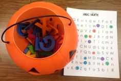 Pumpkin ABC's: children pull a letter from the pumpkin and mark it off their recording sheet. I'd have them write it instead. letter recognition, pumpkin, abc recognit, hunts, alphabet, word work, little miss, letters, kid