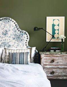 Photograph by Damian Russell for the April 2012 issue of House & Garden.  The headboard is by Tara Craig, covered in a printed linen from Bennison.