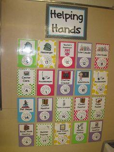 classroom job, classroom themes, teach, classroom ideas, classroom organization, first grade, helping hands, back to school, chore charts