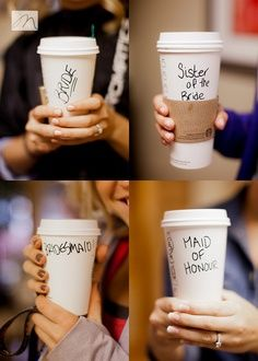 Make a Starbucks run the morning of the wedding and personalize the cups.