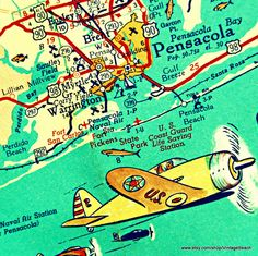 map print PENSACOLA BEACH retro 20x20 Florida map art photograph Gulf Breeze beach house decor airplane  Americana