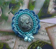 Victorian Lady Cameo Brooch Pin Hand Crochet  by CraftsbySigita on Etsy