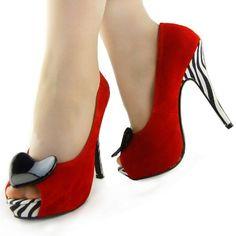 Show Story Women's Black Zebra Print Heart Stiletto Platform Pumps - Was $59.99 Buy Now: $34.99