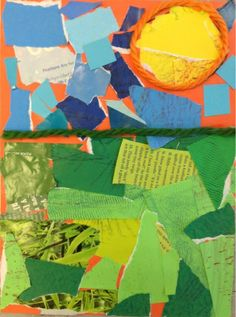 As an introduction to landscape and space, kindergarteners learned what a horizon line is and what goes above and below it. Each class collected green, yellow, and blue papers from magazines, raided the scrap boxes, and we also made some texturized papers ourselves. We carefully collaged the torn papers to create a sky, a sun, and a grassy field, and defined the areas with a length of thick yarn. Inc Grant Wood's pumpkins