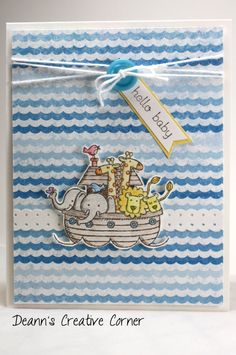 Hello Baby Noah's Ark handmade card two by two Stampin' Up by DeannsCreativeCorner, $3.25