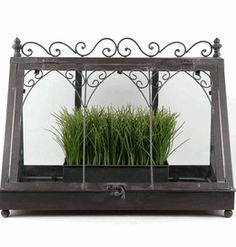 18 Vintage Metal & Glass Tabletop Terrarium $39.99.....WANT!!!! (Fill with terra cotta pots w/herbs)