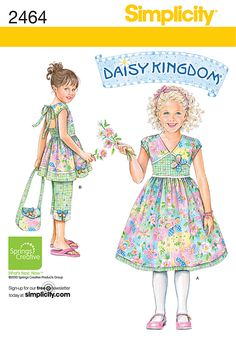 WANT 2464 - Child's Sportswear - Child's dress, top, Capri pants and purse sewing patterns. Daisy Kingdom Collection. *OOP*