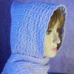 Crochet Bernat Satin Hooded Scarf   Free Crochet Pattern