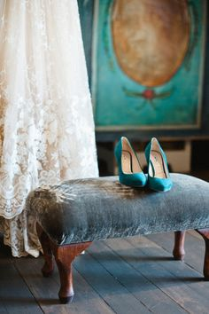 ❥ wedding dress. turquoise shoes. velvet bench.    Live a luscious life with LUSCIOUS: www.myLusciousLife.com