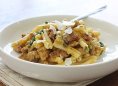 """""""Pasta with Butternut Sauce, Spicy Sausage and Baby Spinach 