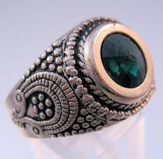 Vintage Mens Green Stone Ring Size 11 by BrightEyesTreasures, $19.99