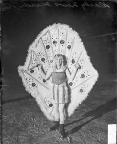 Woman wearing a Mardi Gras costume and ice skates at Garfield Park in 1929. DN-0087344. #chicago #history #quirky #mardigras