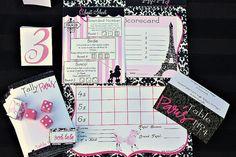 Bunco game set printable: Pink Parisian French #paris #poodle #pink