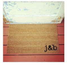 Doormat with his and her initials. So cute