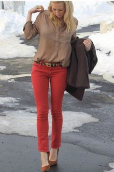 brown with red pants-Fall