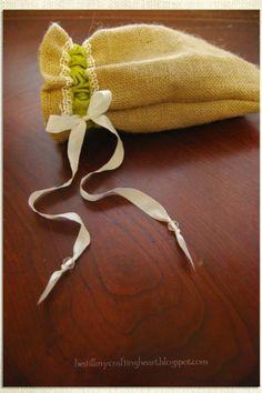 Velvet & Lace Burlap Gift Bag